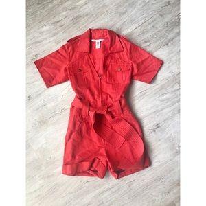 Red Silk Zip Up Romper Playsuit!